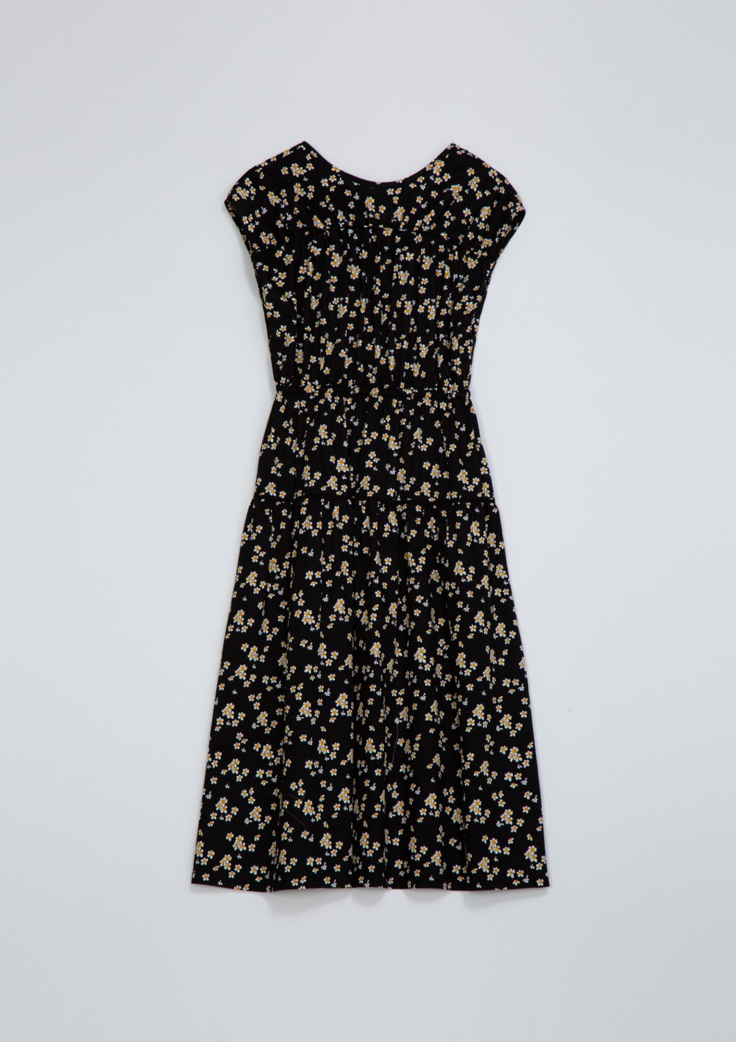 De Cut-out Dress - Black Floral Artwork