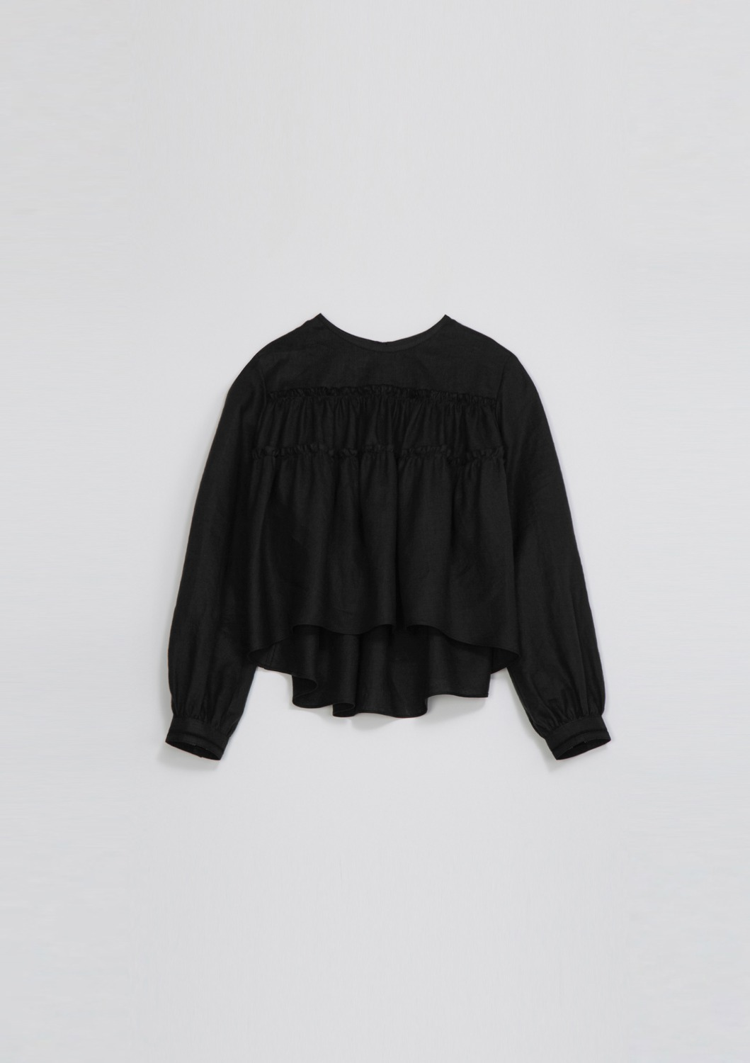 Agreable Tierd Blouse - Black Linen